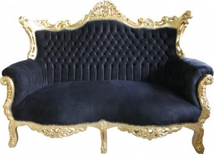 Casa Padrino Barock 2-er Sofa Master Schwarz / Gold - Antik Stil Möbel - Vorschau