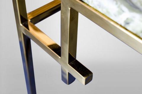 Casa Padrino Art Deco Couchtisch Gold Metall / Marmor 130 x 70 cm- Jugendstil Tisch - Möbel Wohnzimmer - Vorschau 5
