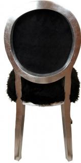 Casa Padrino Luxus Barock Esszimmer Set Marilyn Monroe Bubble Gum Crazy Schwarz / Mehrfarbig / Silber 50 x 60 x H. 104 cm - 4 handgefertigte Esszimmerstühle mit Kunstfell und Bling Bling Glitzersteinen - Vorschau 4