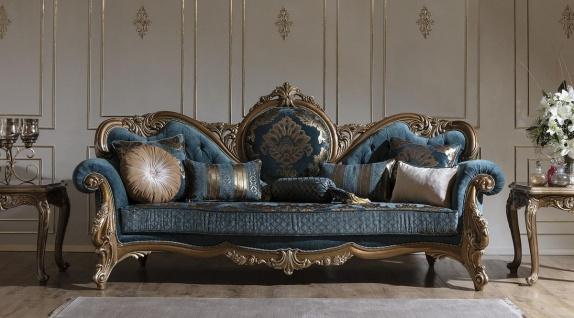 Casa Padrino Luxus Barock Sofa Blau / Gold 260 x 90 x H. 125 cm - Prunkvolles Wohnzimmer Sofa mit elegantem Muster und dekorativen Kissen - Barock Möbel