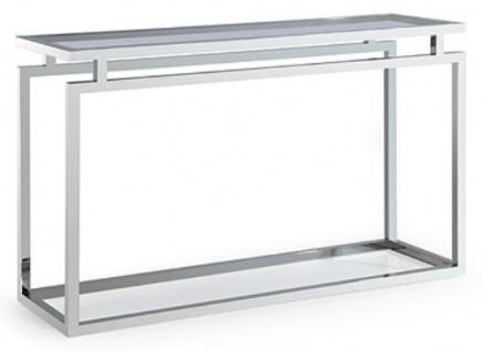 Casa Padrino Konsole Silber / Schwarz 150 x 40 x H. 78 cm - Luxus Wohnzimmer Konsolentisch