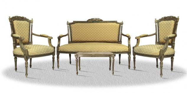 Casa Padrino Barock Salon Set vintage braun mit Tisch Sitzbank und 2 Stühlen - Antik Stil Kollektion