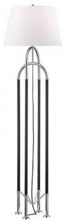Casa Padrino Luxus Stehleuchte Silber / Schwarz / Weiß Ø 50, 8 x H. 172, 7 cm - Edle Metall Leuchte mit hochwertigem Leder und Leinen Lampenschirm - Luxus Qualität