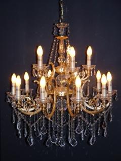 Casa Padrino Barock Kristall Kronleuchter 15-Flammig Gold ModK5 - Hängeleuchte Lüster Hängelampe Deckenlampe