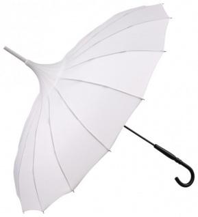 MySchirm Designer Regenschirm Pagode Ecru Weiß Model Paris - Jugendstil Design - Eleganter Stockschirm