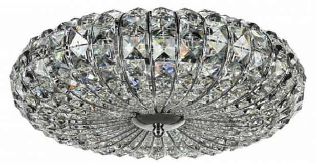 Casa Padrino Neo Barock Kristall Kronleuchter Silber Ø 40 x H. 12 cm - Runder Kronleuchter mit Metallrahmen und Glaskristallen in verschiedenen Schliffen