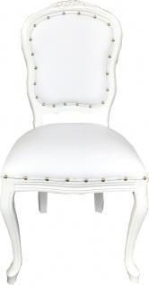 Casa Padrino Barock Luxus Esszimmer Stuhl Weiß Kunstleder / Weiß Mod Antibes - Handgefertigte Möbel