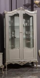 Casa Padrino Luxus Barock Vitrine Grau / Silber 108 x 47 x H. 202 cm - Massivholz Vitrinenschrank im Barockstil - Edel & Prunkvoll