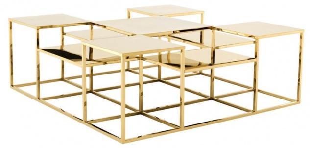 Casa Padrino Luxus Couchtisch / Wohnzimmertisch Gold 120 x 120 x H. 42 cm - Designer Wohnzimmermöbel