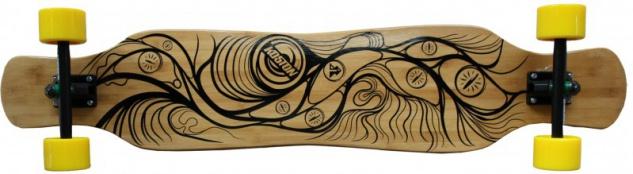 Koston Bambus Longboard Komplettboard Dancer Cruiser Gan Jiang 46.0 x 9.0 inch Yellow Wheels - Profi Longboard Carver - Carving Dance Longboard
