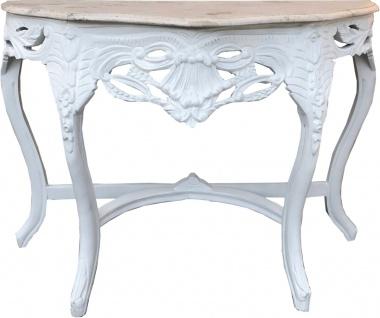 Casa Padrino Barock Konsolentisch Weiss / Creme mit Marmorplatte - Konsole Möbel Antik Stil