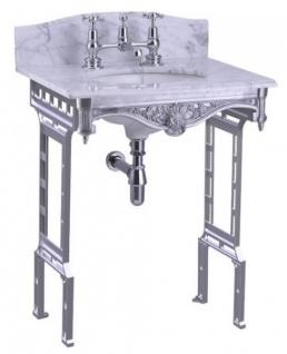 Casa Padrino Luxus Jugendstil Stand Waschtisch Weiß / Aluminium mit Marmorplatte mit Spritzschutz hinten - Barock Waschbecken Barockstil Antik Stil