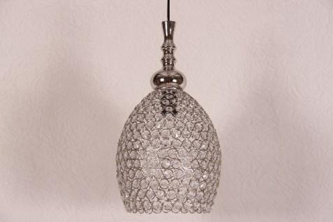 Casa Padrino Hängeleuchte Deckenleuchte Silber / Glas 23cm Durchmesser - Industrie Lampe Hänge Leuchte