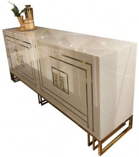 Casa Padrino Luxus Sideboard Grau / Gold 220 x 55 x H. 92 cm - Edler Schrank mit 4 Türen - Luxus Qualität - Luxus Möbel