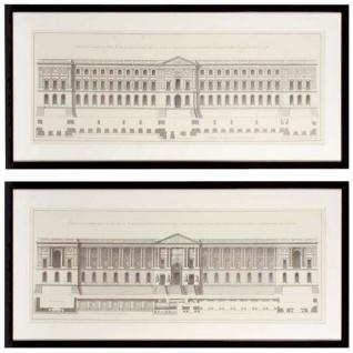 Casa Padrino Bilder / Kunstdruck Set Fassade vom Louvre Mehrfarbig 109 x H. 52 cm - Luxus Wohnzimmer Dekoration
