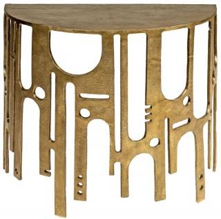 Casa Padrino Designer Aluminium Konsole Bronzefarben 90 x 45 x H. 75 - Halbrunder Konsolentisch - Wohnzimmer Möbel - Luxus Kollektion