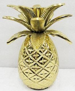 Casa Padrino Designer Messing Kerzenhalter Ananas Gold Ø 12 x H. 15 cm - Luxus Accessoires