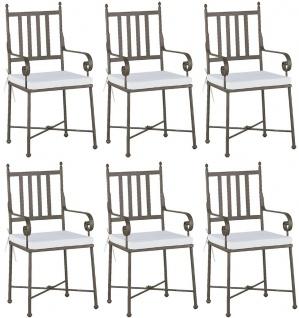 Casa Padrino Luxus Jugendstil Gartenstuhl Set mit Armlehnen und Sitzkissen Braun / Weiß 47 x 50 x H. 103 cm - Handgeschmiedete Esszimmer Stühle - Esszimmer Garten Terrassen Möbel