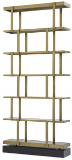 Casa Padrino Luxus Regalschrank Messingfarben / Schwarz 110 x 30 x H. 243 cm - Edelstahl Schrank - Bücherschrank - Wohnzimmer Schrank - Büroschrank - Luxus Möbel