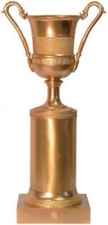 Casa Padrino Barock Bronze Deko Vase mit Sockel Bronzefarben 21, 4 x 14, 5 x H. 41, 9 cm - Pokal - Trophäe - Wohnzimmer Dekoration