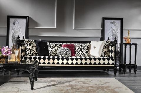 Casa Padrino Luxus Barock Sofa Weiß / Schwarz 240 x 96 x H. 83 cm - Wohnzimmer Sofa mit elegantem Muster - Edel & Prunkvoll