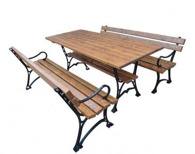Casa Padrino Jugendstil Gartenmöbel Set Tisch und 2 Sitzbänke mit Armlehnen Braun / Schwarz 150 cm - Gartenmöbel