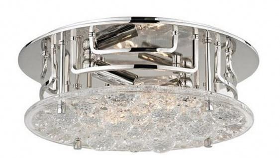Casa Padrino Luxus Deckenleuchte Silber Ø 28, 6 x H. 9, 5 cm - Runde Deckenlampe mit handgefertigtem Glas - Luxus Qualität