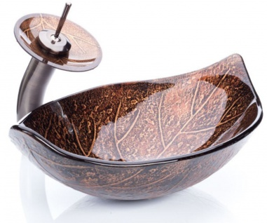 Casa Padrino Designer Waschtisch Set Kupferfarben / Braun / Silber 58 x 37 x H. 30 cm - Einhebel Wasserhahn mit Glas Waschbecken - Luxus Bad Zubehör