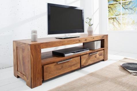 Casa Padrino Designer TV-Board B.135 x H.45 x T.45 - Fernsehschrank - Kommode - Sideboard - Handgefertigt aus Massivholz! - Vorschau 2