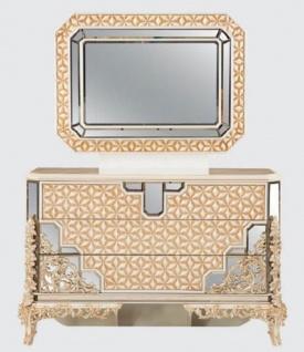 Casa Padrino Luxus Barock Schlafzimmer Kommode mit Spiegel Weiß / Gold - Barock Schlafzimmer Möbel - Edel & Prunkvoll