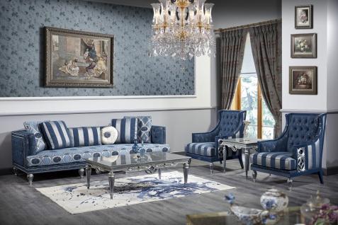 Casa Padrino Luxus Barock Wohnzimmer Set Dunkelblau / Hellblau / Silber - Sofa & 2 Sessel & Couchtisch - Barock Wohnzimmermöbel