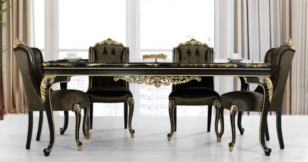Casa Padrino Luxus Barock Esstisch Schwarz / Gold - Edler Massivholz Esszimmertisch - Barock Esszimmer Möbel - Edel & Prunkvoll