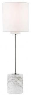 Casa Padrino Luxus Tischleuchte Silber / Weiß Ø 15, 9 x H. 55, 9 cm - Moderne runde Tischlampe mit Lampenschirm aus Kunstseide und Marmorsockel