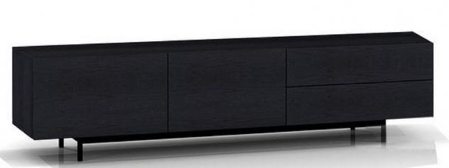 Casa Padrino Luxus Fernsehschrank mit 2 Türen und 2 Schubladen Schwarz 180 x 50 x H. 46 cm - Massiver Eichenholz Schrank - Luxus Möbel