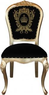 Pompöös by Casa Padrino Luxus Barock Esszimmer Stuhl Schwarz / Gold mit Krone - Pompööser Barock Stuhl designed by Harald Glööckler
