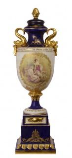 Casa Padrino Porzellan Vase auf Sockel weiß dunkelblau gold