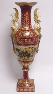 Casa Padrino Luxus Barock Porzellan Vase mit 2 Griffen H. 64 cm - Edel & Prunkvoll