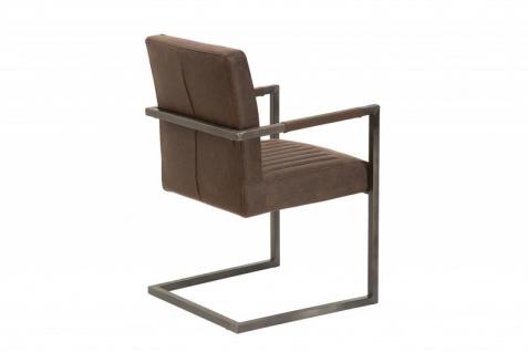 Casa Padrino Designer Freischwinger Stuhl aus Echtleder Vintage Braun - Esszimmerstuhl - moderner Wohnzimmerstuhl - Vorschau 3