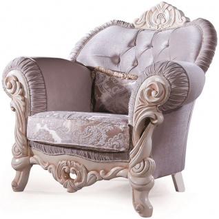 Casa Padrino Luxus Barock Sessel mit dekorativem Kissen Flieder / Creme / Beige 100 x 80 x H. 110 cm - Massivholz Wohnzimmer Sessel mit edlem Samtstoff und Glitzersteinen