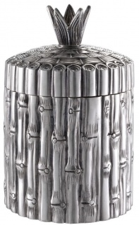 Casa Padrino Luxus Aufbewahrungsbox in Bambus Optik Antik Silber Ø 14 x H. 22, 5 cm - Runde Deko Dose mit Deckel - Luxus Accessoires