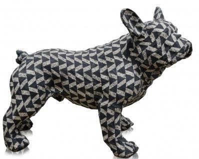 Casa Padrino Deko Bulldogge Schwarz / Weiß 43 x 23 x H. 34 cm - Luxus Wohnzimmer Accessoires