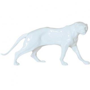 Luxus Panther Figur Weiß Höhe 11 cm, Breite 26 cm, Tiefe 8 cm, edle Skulptur aus Kunststein, Edel & Prunkvoll
