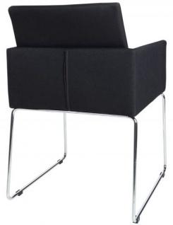 Casa Padrino Designer Stuhl mit Armlehnen Schwarz 55cm x 80cm x 60cm - Büromöbel - Vorschau 5
