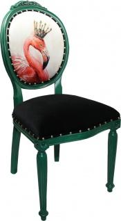 Casa Padrino Barock Luxus Esszimmer Stuhl ohne Armlehnen Flamingo mit Krone mit Bling Bling Glitzersteinen - Designer Stuhl - Limited Edition - Vorschau 2