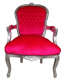 Casa Padrino Barock Salon Stuhl Mod1 Pink / Silber