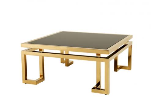 Casa Padrino Luxus Art Deco Designer Couchtisch Gold mit schwarzem Glas - Wohnzimmer Salon Tisch - Luxus Kollektion