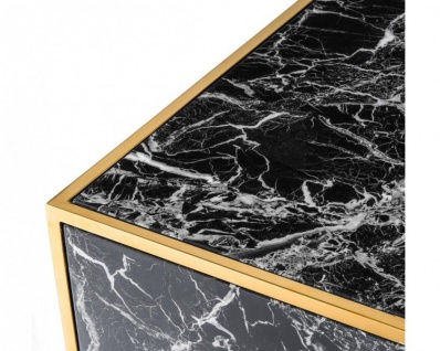 Casa Padrino Art Deco Luxus Couchtisch Kunstmarmor Gold finish 4er Set - Wohnzimmer Salon Tisch - Luxus Möbel - Vorschau 5