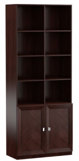 Casa Padrino Luxus Regalschrank Dunkelbraun / Silber 90, 6 x 44, 2 x H. 225, 6 cm - Wohnzimmerschrank Büroschrank mit 2 Türen