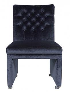 Casa Padrino Designer Esszimmer Stuhl / Sessel ModEF 320 Schwarz Samt - Hoteleinrichtung - Sessel auf Rollen - Vorschau 3
