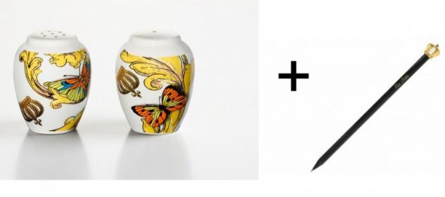 Harald Glööckler Porzellan Salz und Pfeffer + Luxus Bleistift von Casa Padrino - Barock Dekoration